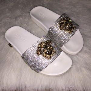 Shoes - Rhinestone slides medusa 8